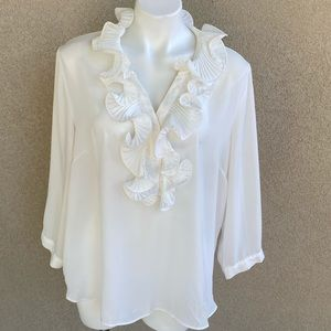 Ivory Ruffle V Neck Accent Button Down Blouse
